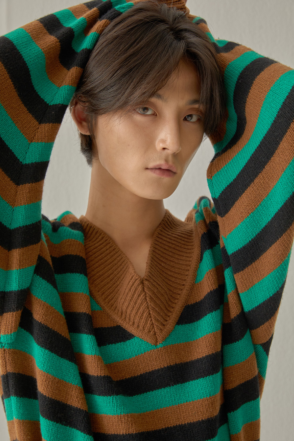 STRIPE SLIT KNIT (GREEN)